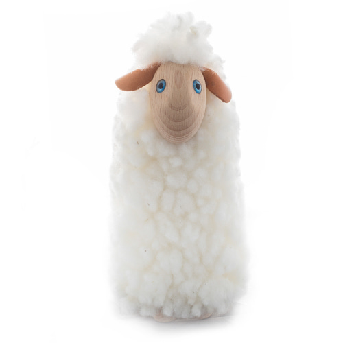 두 발 서있는 아기양(Q)Caress-sheep, white fur, beech wood, 20cmmade in Germany