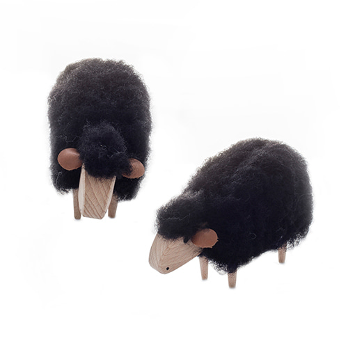 미니양-화이트/블랙Crib-Sheep, white or black wool-plushmade in Germany